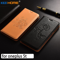 For Oneplus 5t Case Flip Embossed Genuine Leather Soft TPU Back Cover For Oneplus 5t Coque