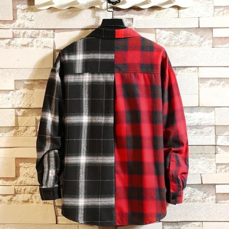 0151 Spring Autumn Plaid Shirt Men Long Sleeve Cotton Patchwork Lapel Collar Hip Hop Streetwear Shirt For Man Loose Harajuku in Casual Shirts from Men 39 s Clothing
