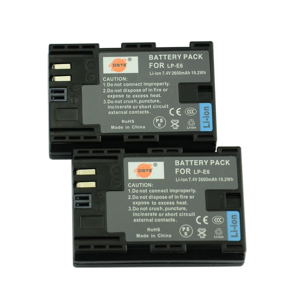DSTE LP-E6 LP-E6N batería de la cámara para Canon EOS 6D 7D 60D 60Da 70D 80D 5DSR 7D Mark II 5DS 5D mark II 5D Mark III 5D Mark IV