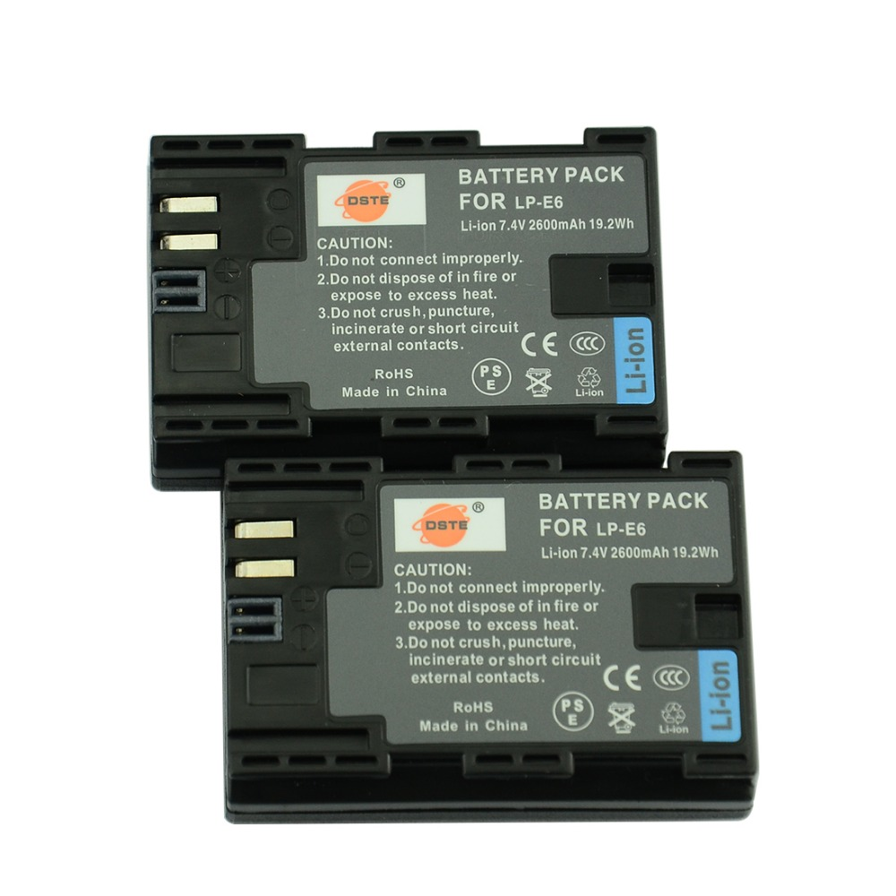 DSTE LP-E6 LP-E6N Camera Battery for Canon EOS 6D 7D 60D 60Da 70D 80D 5DSR 7D Mark II 5DS 5D Mark II 5D Mark III 5D Mark IV