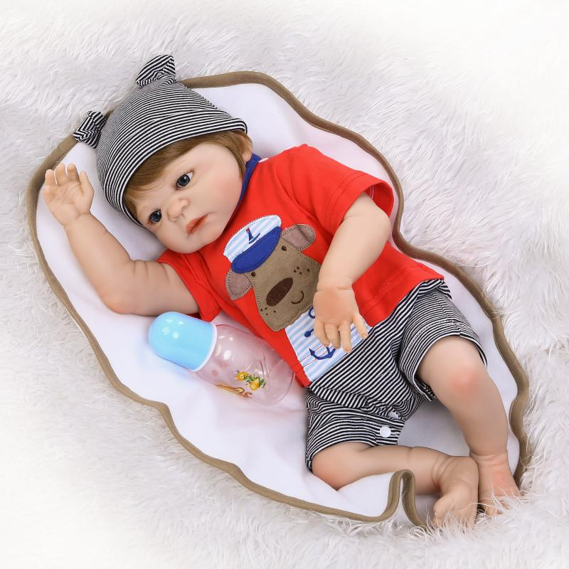 Nicery 22inch 55cm Bebe Reborn Doll Hard Silicone Boy Girl Toy Reborn Baby Doll Gift for Children Red Gray Dog Lovely Baby Doll 55cm 22inch lovely baby reborn doll toy soft vinyl silicone reborn baby dolls finished doll