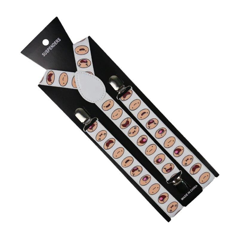 Winfox Unisex Suspenders Braces White Cartoon Face Suspenders Women Men Y-shaped Clip On Suspender Elastic Braces Gallus