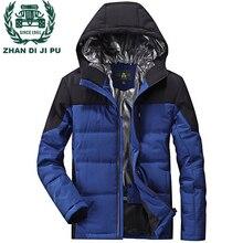 ZHAN DI JI PU Брендовая одежда плюс размер 3XL 4XL мужские зимние куртки с капюшоном и воротником пальто красный синий цвет Мужская парка 155