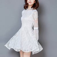 Autumn Lace Dress Women Fashion Long Sleeve Elegant Slim Sexy Party Dresses Female Plus Size White