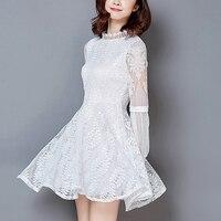 Autumn Lace Dress Women Fashion Long Sleeve Elegant Slim Sexy Party Dresses Female Plus Size White