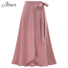 2017 New Women's Plains Solid High Waist Skirts Casual Fashion Female Spilt Skirt Irregular Plus Size Maxi Skirts With Bow Knot