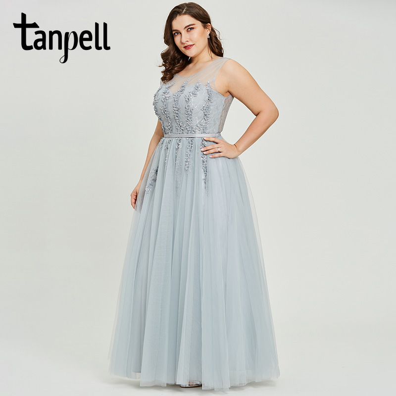 Tanpell appliques   prom     dress   gray sleeveless scoop floor length a line   dresses   sequins zipper up women long graduation   prom   gown