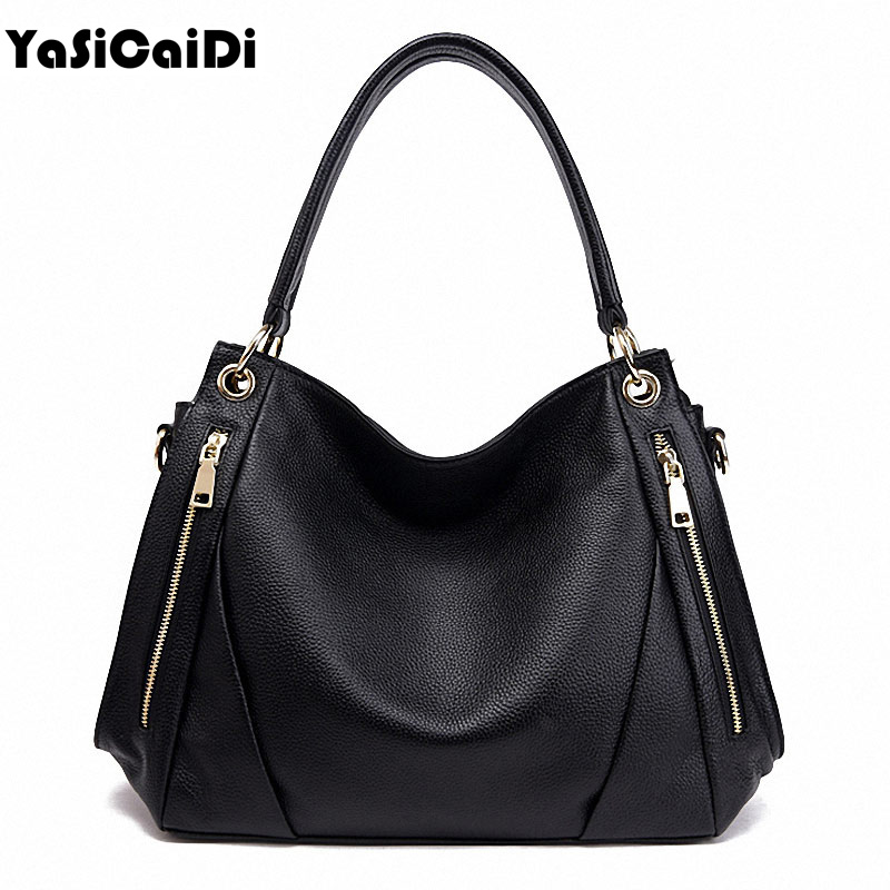 Fashion Women Genuine Leather Handbags Black Large Casual Tote Famous Cow Leathe