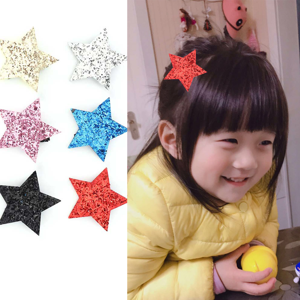 Sequin Star Shape Hair Clip Barrette Hairpin For Baby Girls Children Toddler