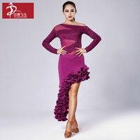 Elim Phil Adult Long Sleeved Latin Dance Exercise Clothing YL143 S8032 Latin Dance Skirts Latin Dance