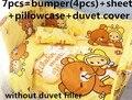 Promoción! 6 unids camas cuna 100% de algodón establecido unpick y lavar la cubierta del edredón del lecho del bebé ( bumper + hoja + almohada cubre )