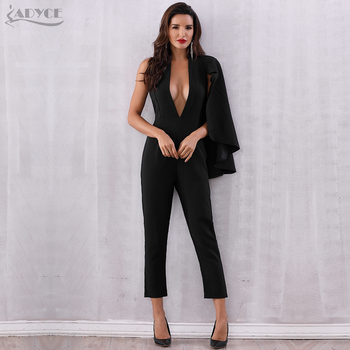Celebrity Runway Jumpsuit Women 2018 Black Deep V-Neck Halter Half Batwing Sleeve Rompers Jumpsuit Sexy Bodycon Bodysuits