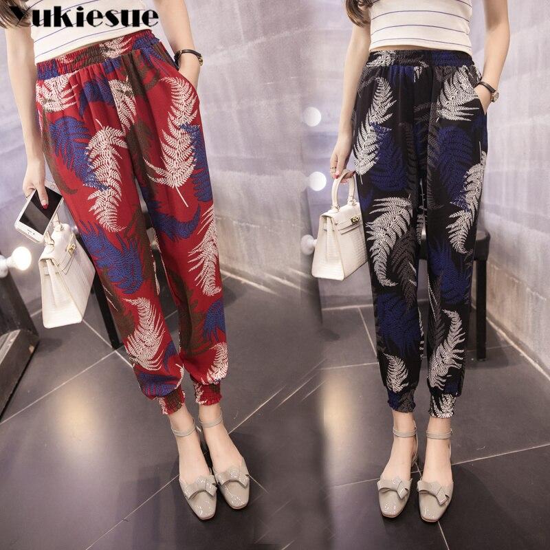 2019 summer boho printed women's   pants     capris   with high waist harem   pants   for women loose trousers woman   pants   female Plus size