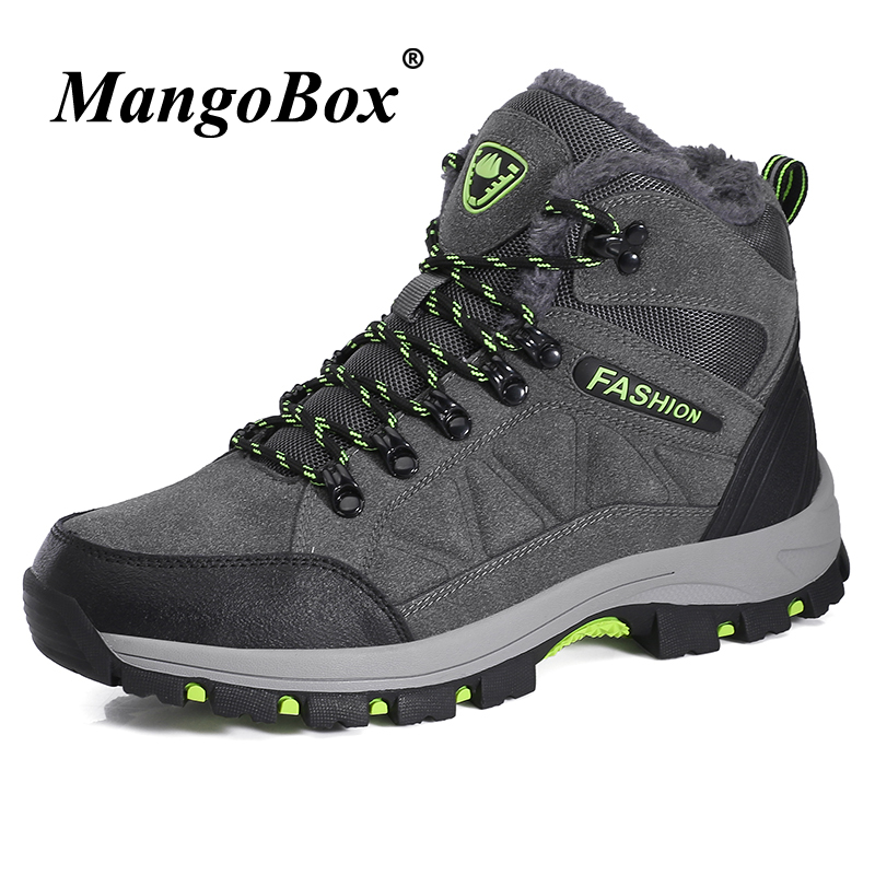 Winter Couples Hiking Boots Comfortable Sneakers Outdoor Footwear Rubber Bottom Hiking Boots Gray Purple Rock Climbing Shoes