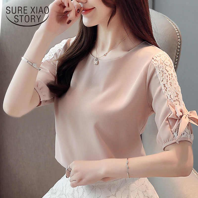 Модные женские топы и блузки 2019  топы женские белая блузка, рубашки кружевные блузки рубашки короткий рукав лук рубашка женская  4140 50
