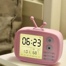 Мультфильм моды ТВ Форма Будильник Зарядка электронный будильник Многофункциональный USB настольные часы