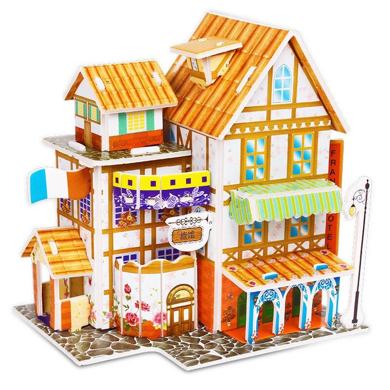 Children DIY 3D Assembled House Toy Manual House Simulation  Villa Puzzle Castle Building Fun Puzzle Foam Board For Kids Gift 4