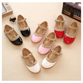 Girls leather shoes children white black pink red fashion rivets single shoes kids princess flat students school shoes