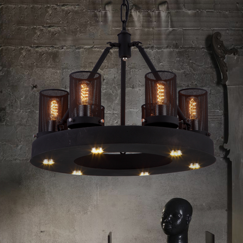 6 Head Nordic Modern Foyer Retro Restaurant Pendant Light Bedroom Livingroom Cafe Wrought Iron Decoration LED Lamp Free Shipping