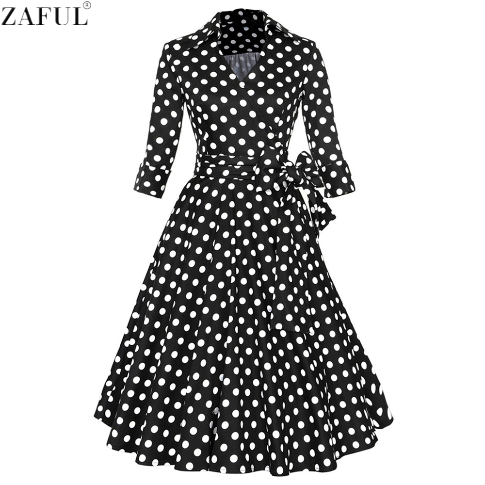 ZAFUL Women Vintage Dress Plus Size Party Sleeves Vestidos