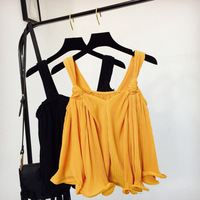 2018 Women Pleated Summer Tops Camisole Feminina O Neck Cute Ruffle Cute T Shirt Tank Top