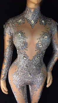 2019 Women's Sexy Rhinestones Bodysuit Stage Outfit Female Singer Gray Leggings Nightclub Nude Crystals Costume Dance Jumpsuit yellow tiger pattern printed sexy jumpsuit skinny leggings rompers nigthclub singer dancer performance stage show nude costume