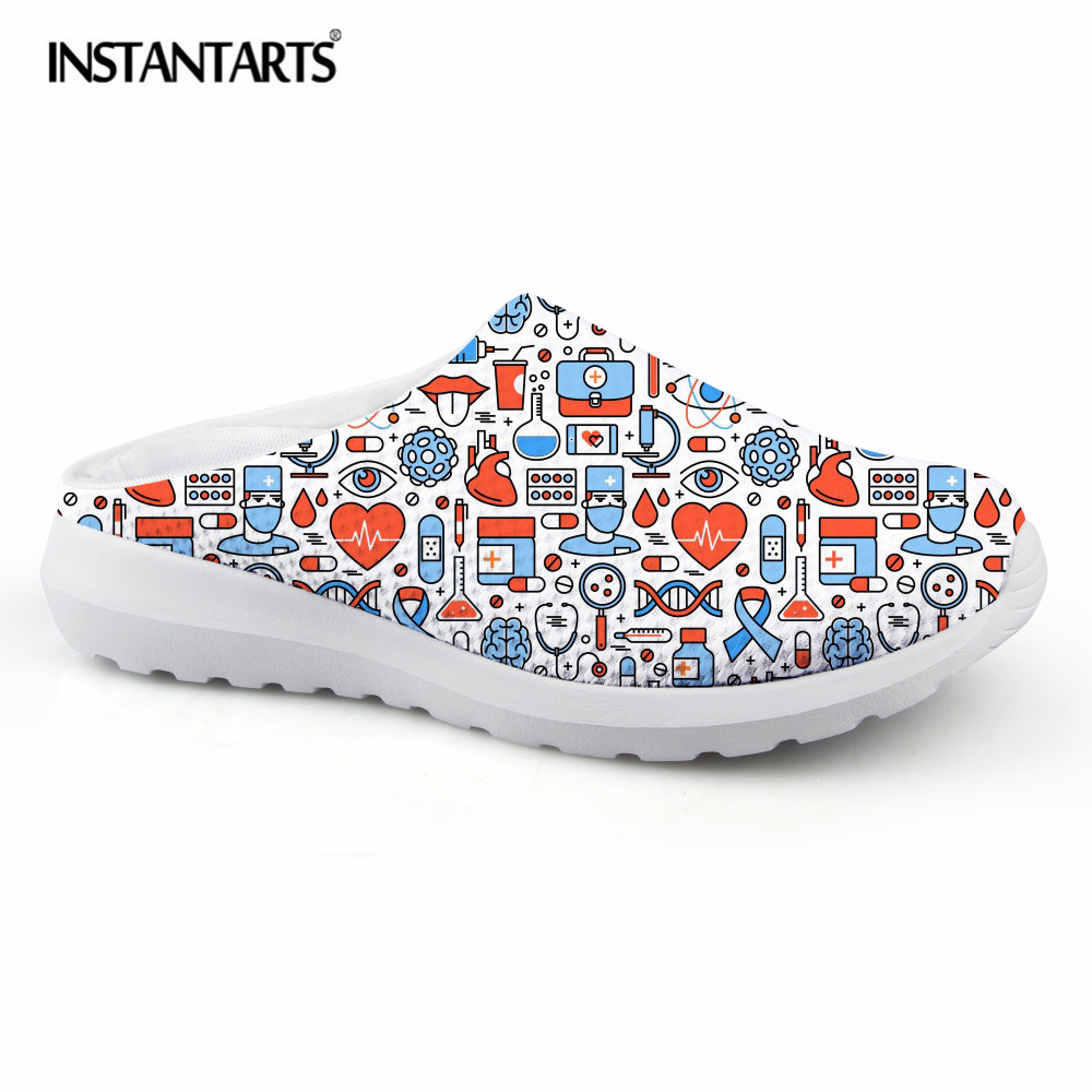 INSTANTARTS 2018 Women Flat Sandals Shoes Nurse Printing Mesh Breathable Slippers Fashion Light Weight Ladies Beach Water Flats instantarts women casual light beach flats sandals 3d skull punk printed air mesh slip on woman slipper ladies comfortable shoes