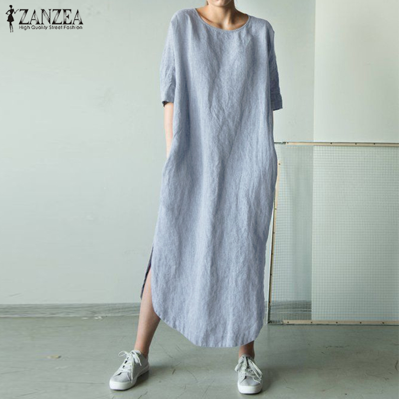 2019 ZANZEA Women O Neck Short Sleeve Sundress Summer Solid Cotton Linen Dress Split Long Vestido Female Robe Casual Party Dress