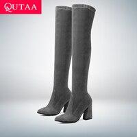 QUTAA/2019 Женские Сапоги выше колена, модная универсальная зимняя обувь с острым носком, элегантные Универсальные женские сапоги, размеры 34-43