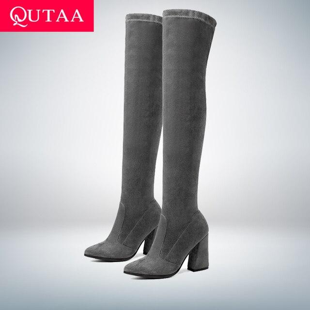 QUTAA 2019 Frauen Über Das Knie Hohe Stiefel Mode Alle Spiel Spitz Winter Schuhe Elegante Alle Spiel Frauen Stiefel größe 34-43