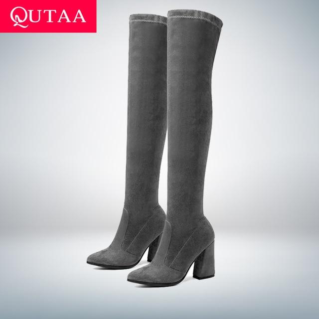 QUTAA 2019 kobiety powyżej buty do kolan moda wszystko mecz szpiczasty Toe buty zimowe eleganckie wszystko mecz kobiet buty rozmiar 34 -43