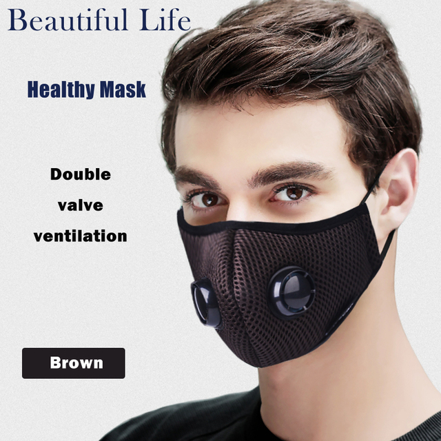 Activated Carbon Dustproof Mask, Anti Haze Face Mask Anti Pollen Allergy PM2.5 Dust Mask with Filter Cotton Sheet and Valves 1