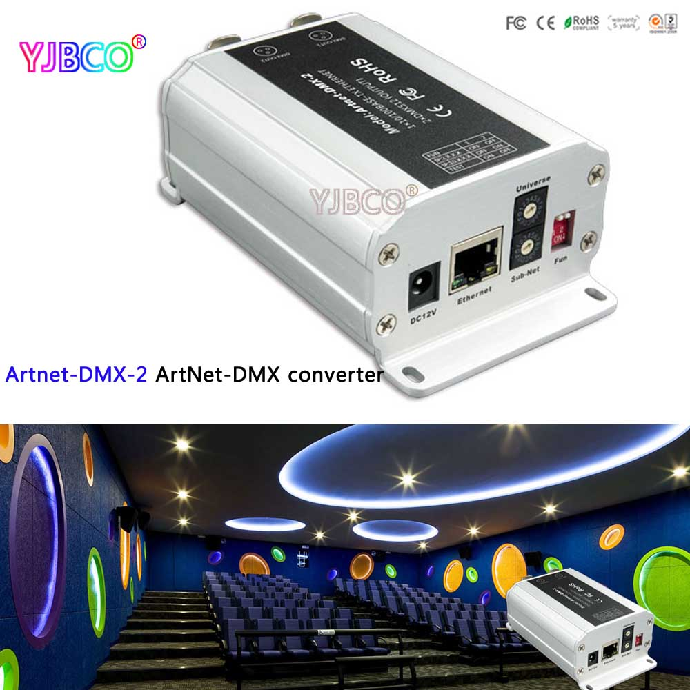 led ArtNet-DMX converter;Artnet-DMX-2;DC5-24V convert the Artnet network data package into DMX512 data;DMX 1024 channels output