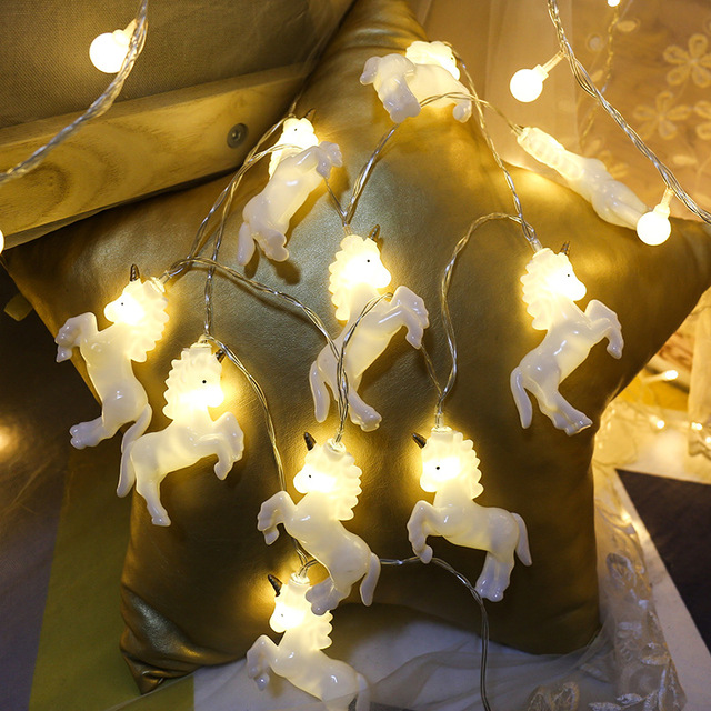 unicorn horse shape led string lights 15m 10 lights battery powered for halloween christmas kids