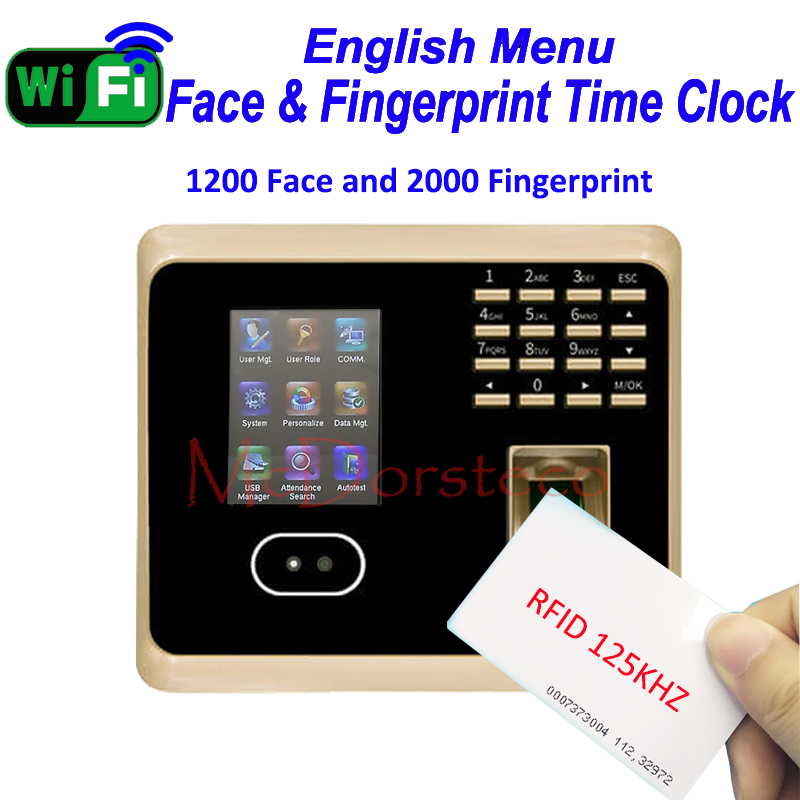 1200 Face ZK Wifi Face Time Attendance Employee RFID Card Time Record System Tcp/ip Face And Fingerprint Time Clock UF100plus