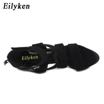 Eilyken 2019 Nouveau été Gladiateur Femmes Sandales Talons Hauts Bottines à Fermeture éclair Boucle Sangle Stiletto Sandales Pompes 16 Cm