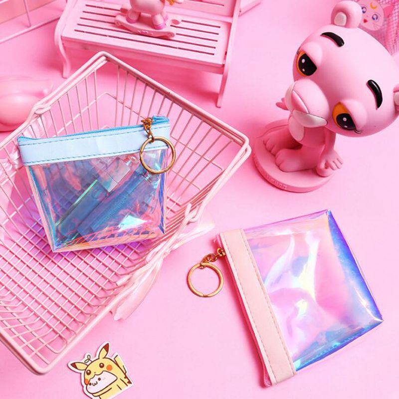 Cute Girl Transparent Laser Coin Purses Silica Gel Purses Holder Kids Mini Change Wallets Money Bag Children Zipper Pouch Gift fashion women mermaid paillette coin purses holder girl children mini change wallets money bag coin bag children zipper pouch