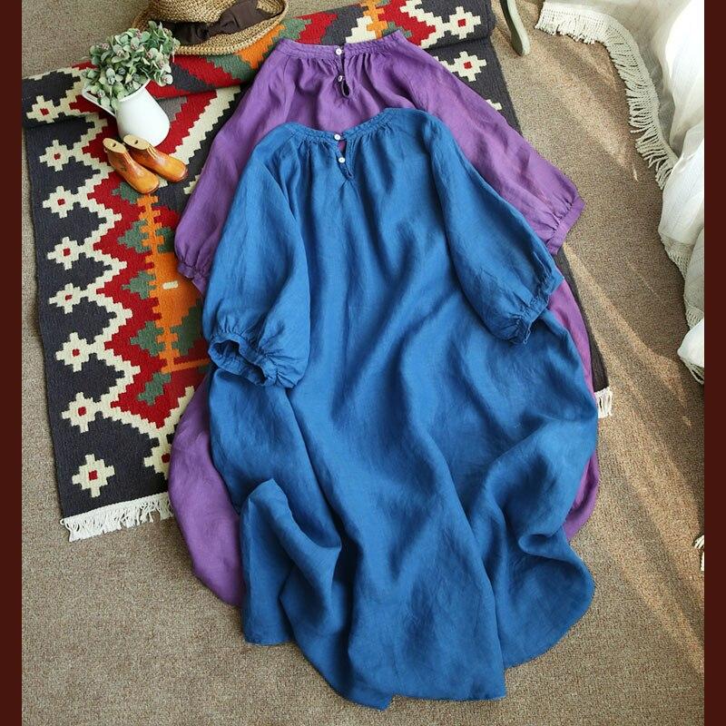 Printemps automne femmes Ultra lâche grande taille Style japonais doux confortable robes en lin