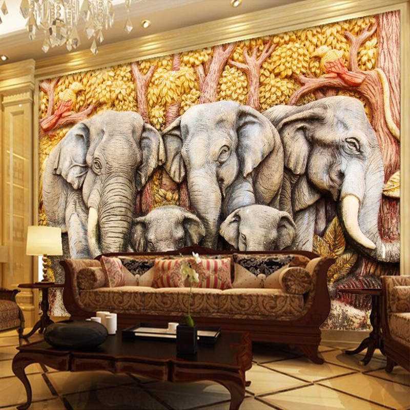 Custom Mural Wallpaper European Style 3D Stereoscopic Relief Elephant Wall Painting Living Room TV Backdrop Wallpaper Home Decor free shipping retro english hepburn postcards simple european style backdrop moisture proof bedroom bathroom wallpaper mural
