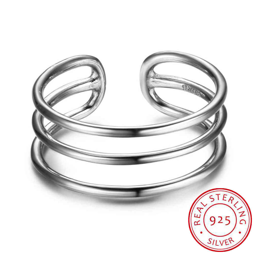 925 Sterling Silver Ring For Women 3 Layers with Open Cuff Adjustable Fashion Rings For Girl Silver Jewelry (RI102678)