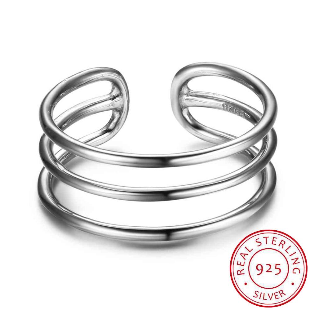 Anillo de plata esterlina 925 para mujer 3 capas con puño abierto Anillos de moda ajustables para joyería de plata para niña (RI102678)