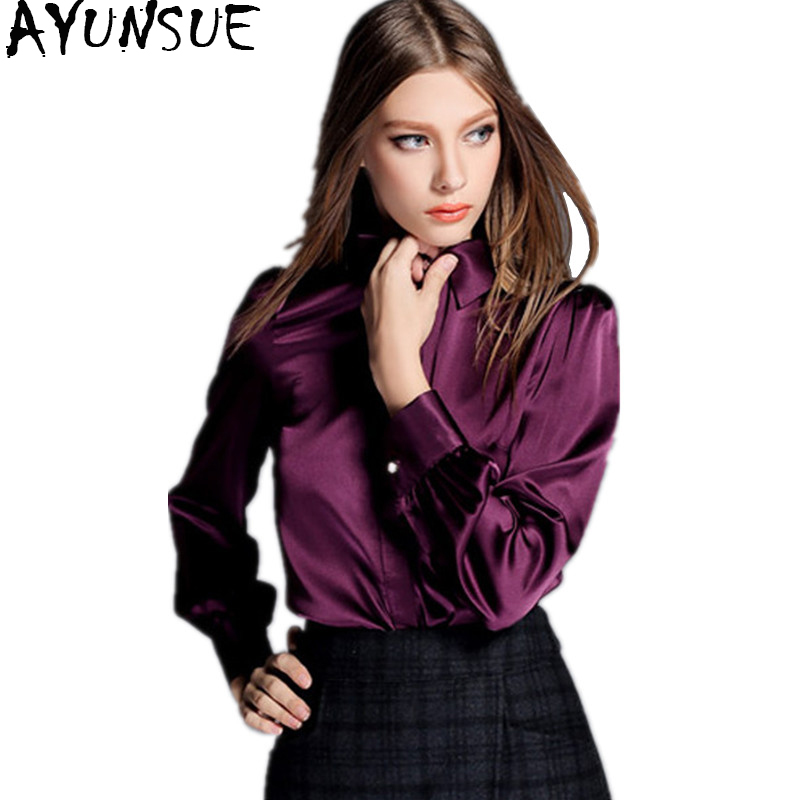 AYUNSUE Women Fashion Blouses 2018 Spring 97% Silk Blouse Women's Shirts Long Sleeve Womens Tops Plus Size 4XL blusas WYQ1123