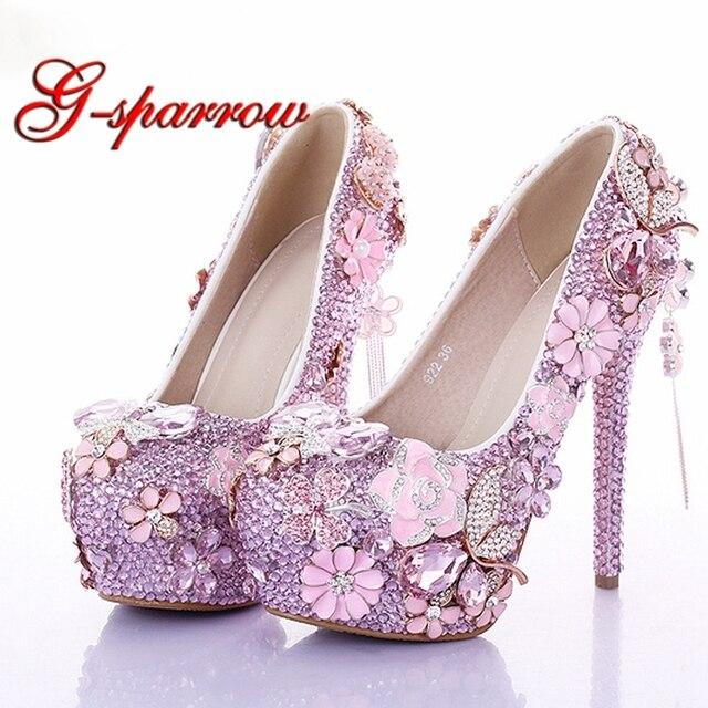 1846b214c5c 2018 Customized Pink Diamond Wedding Dress Shoes Luxury Bridal Shoes  Crystal Rhinestone Shoes Handmade Unique Design Shoes