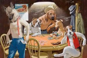 плакат в карты собаки играют