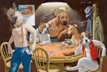 Free Shipping! Home Decor Art wall Dogs Playing Poker Oil painting Picture Printed on canvas II No Frame