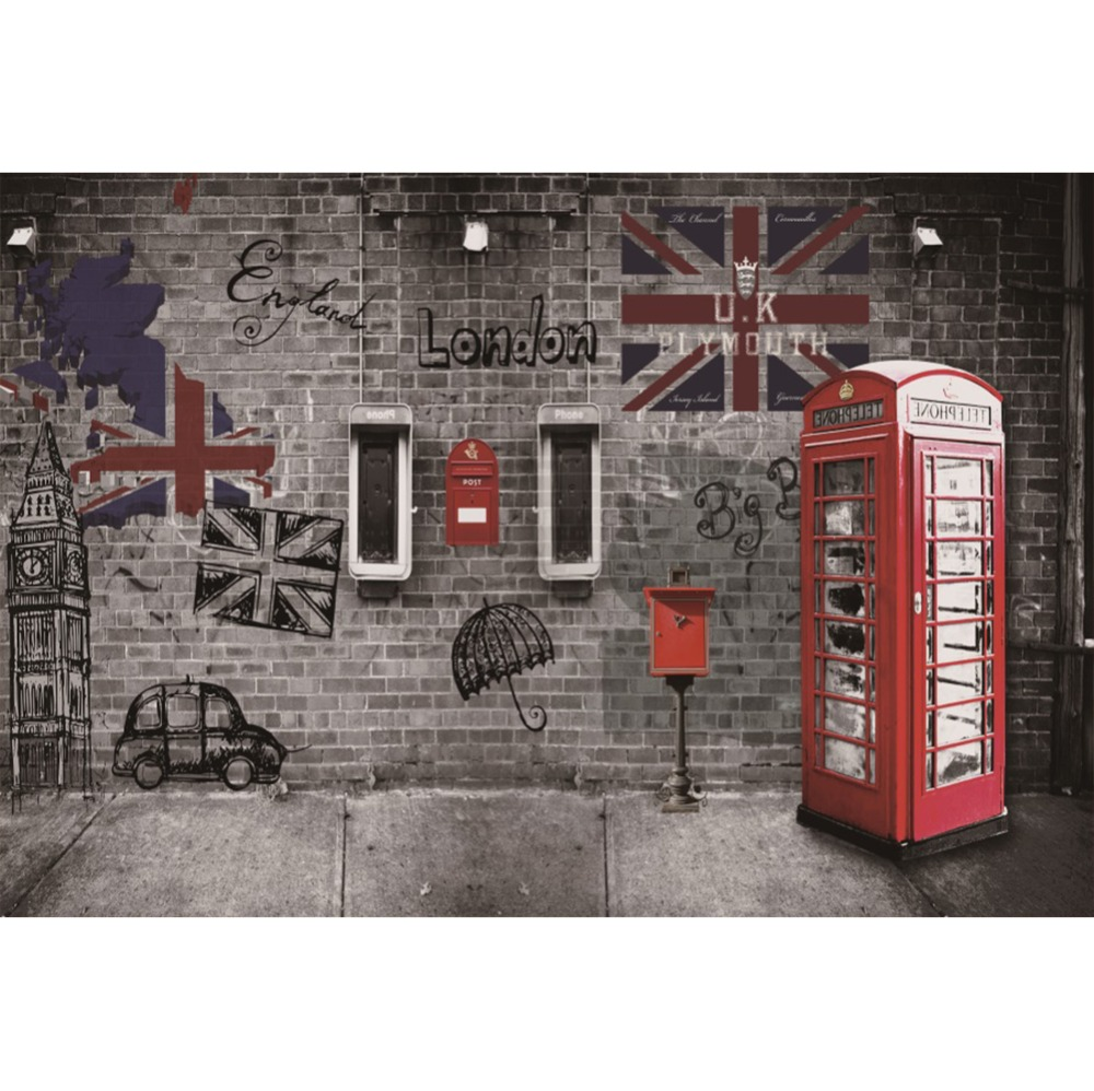 Laeacco Photo Backdrops Brick Wall Old Telephone Booth Grunge Graffiti Baby Child Portrait Photographic Backgrounds Photo Studio in Background from Consumer Electronics