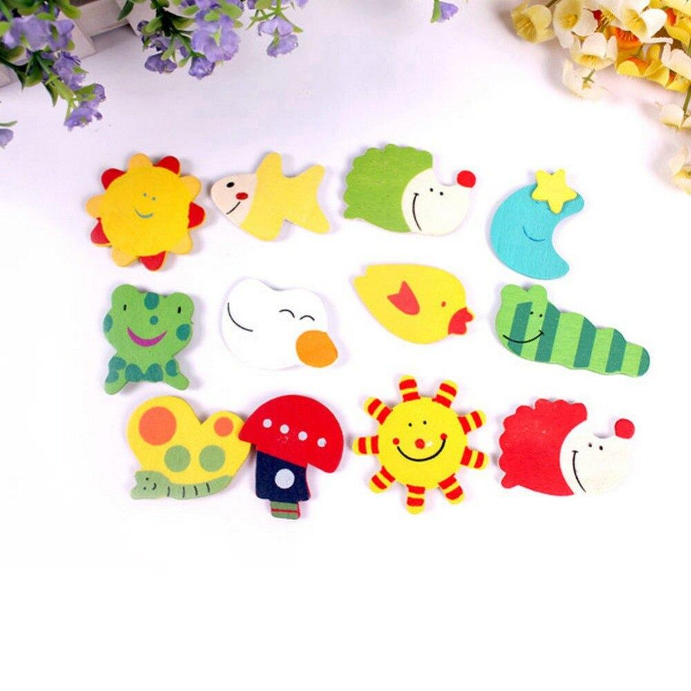 12 шт./компл. ребенка развивающие игрушки Красочные Дети Детские Дерево мультфильм магнит на холодильник