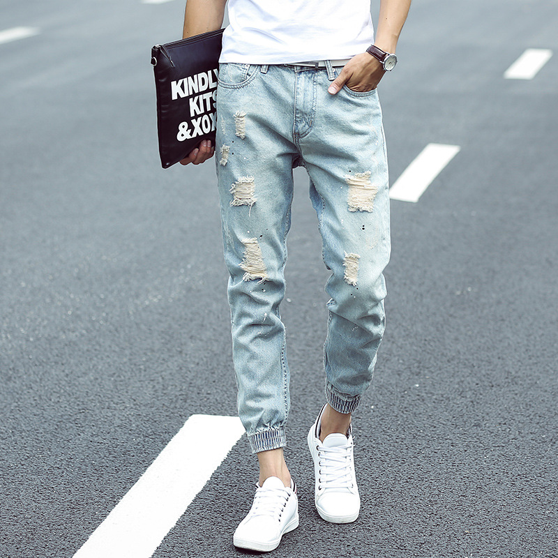 Spring summer fashion casual male ankle banded ripped jeans pants elastic leg opening distressed denim jeans