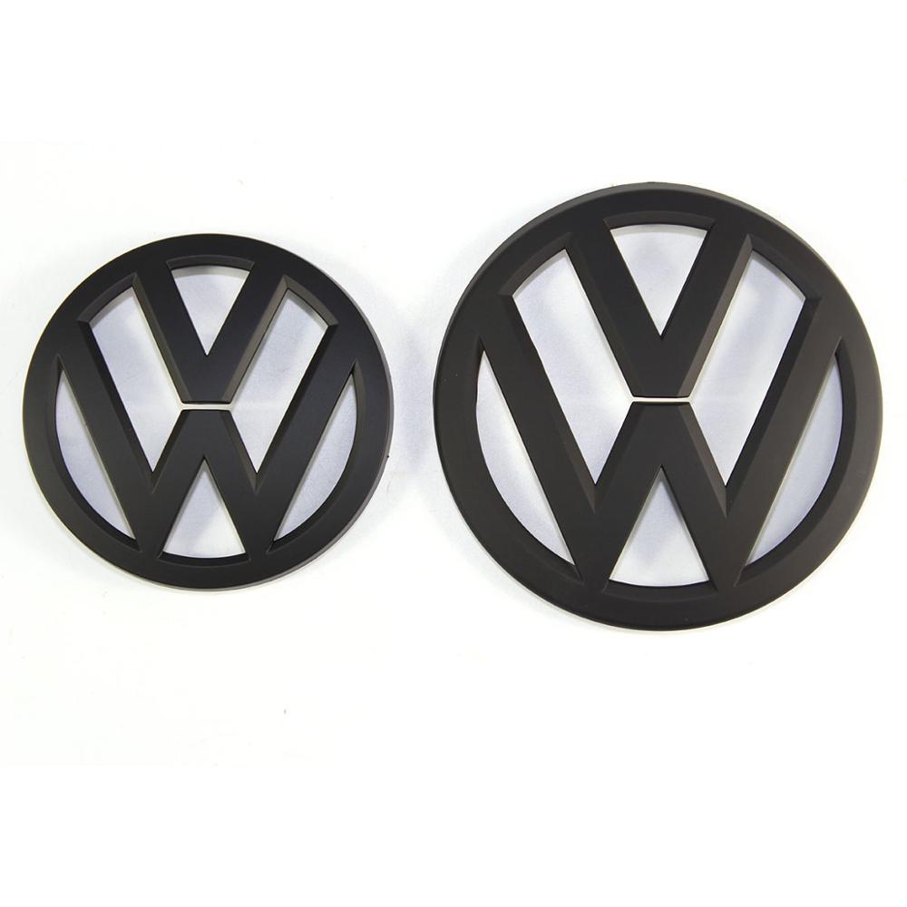 Черный матовый значок на переднюю решетку 135 мм + логотип на заднюю крышку багажника 110 мм для VW Volkswagen Golf MK7