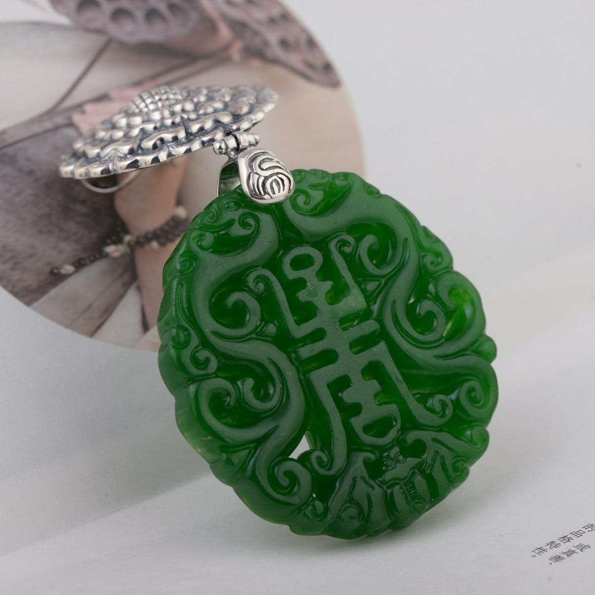 Genuine 925 Sterling Silver Natural Green Jade Pendant Vintage Flowers Engraved Large Gemstone Amulet For Women